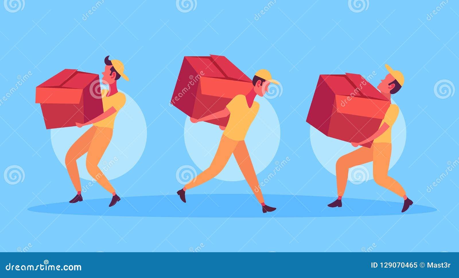 Hommes de messager portant des facteurs de concept de service de paquet de la livraison de boîte travaillant ensemble tenant la b