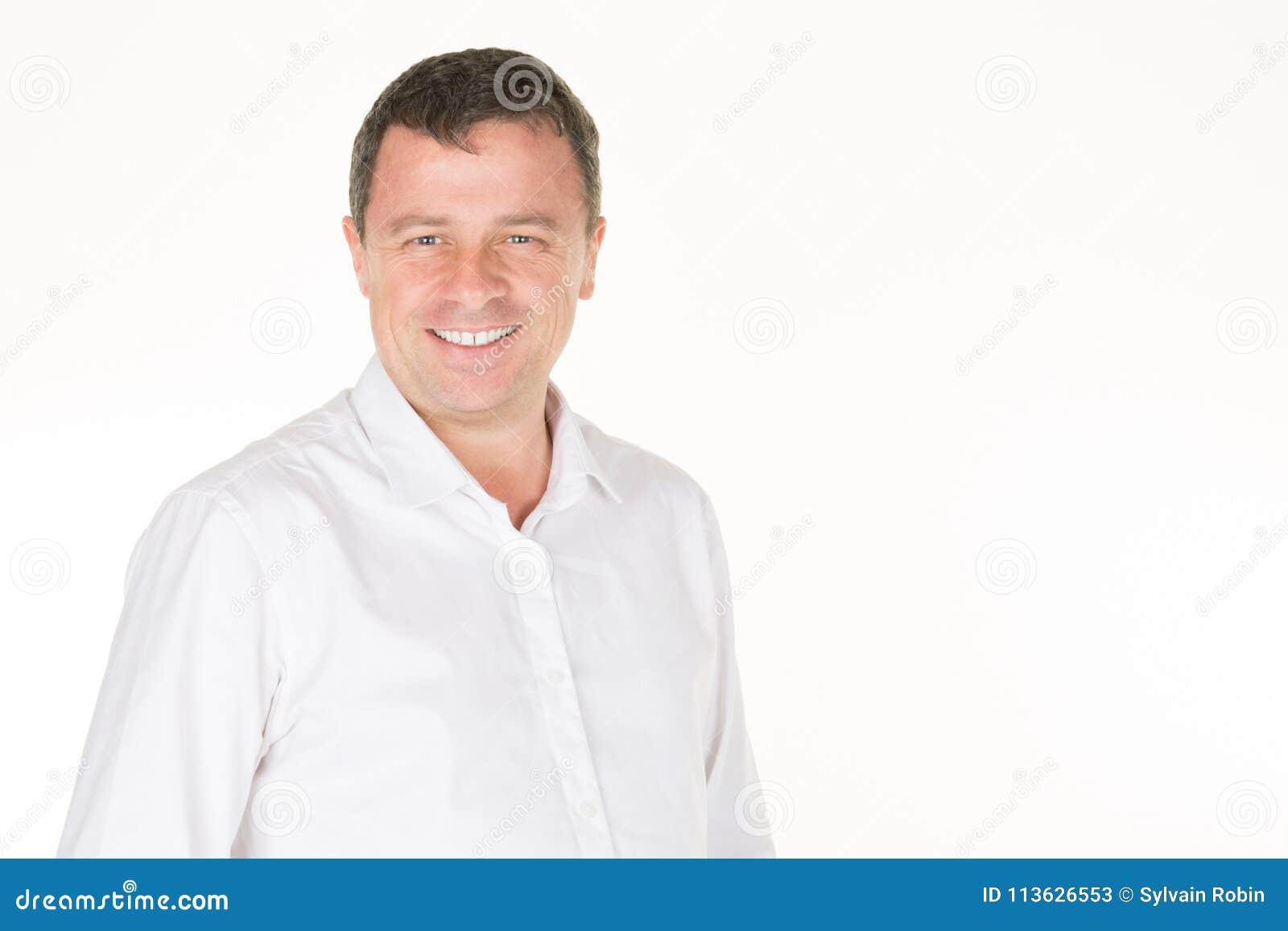 Moyen La Chemise Blanc Stock Âge De Hommes Dans L'homme Image dBoexrCW