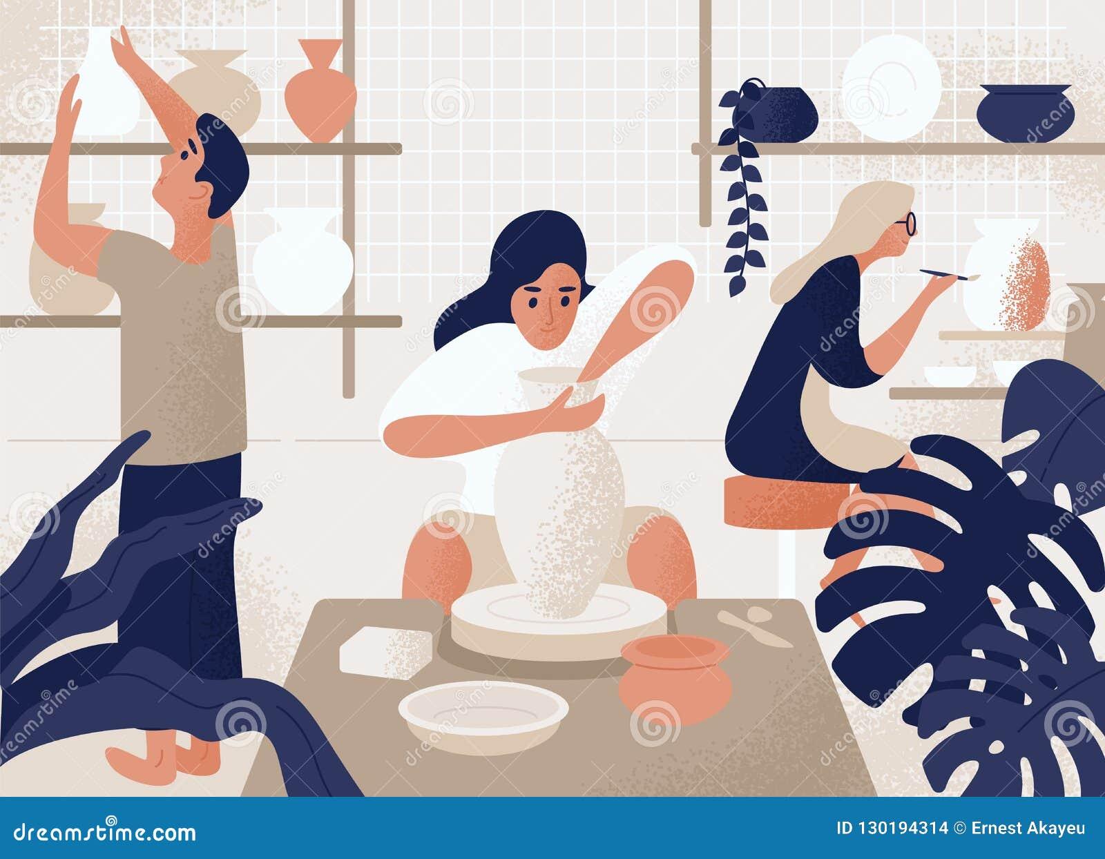 Hommes et femmes faisant et décorant les pots, la poterie de terre, la vaisselle et toute autre céramique à l atelier de poterie