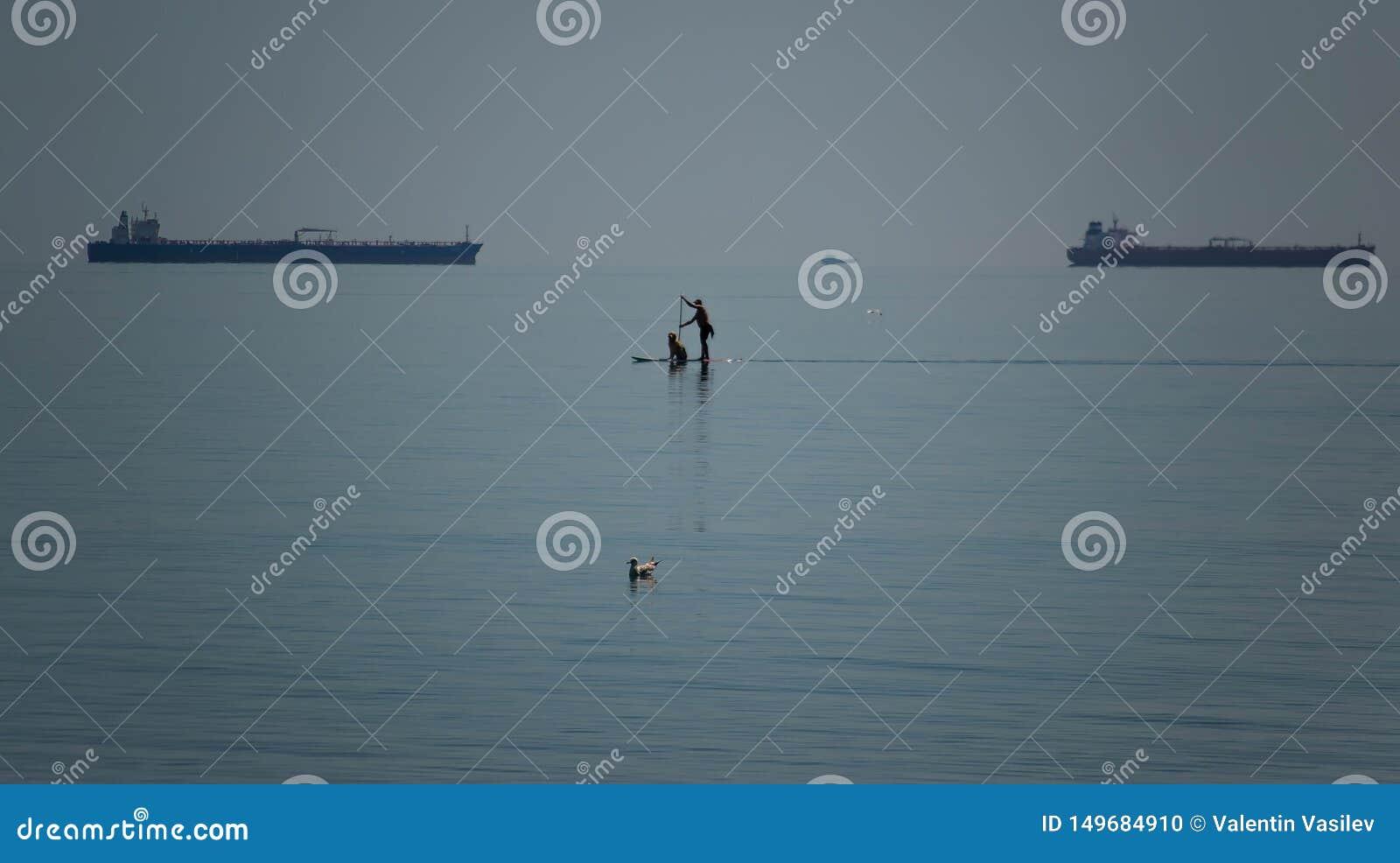 Hommes et sa voile d ami de chien sur un panneau de PETITE GORGÉE