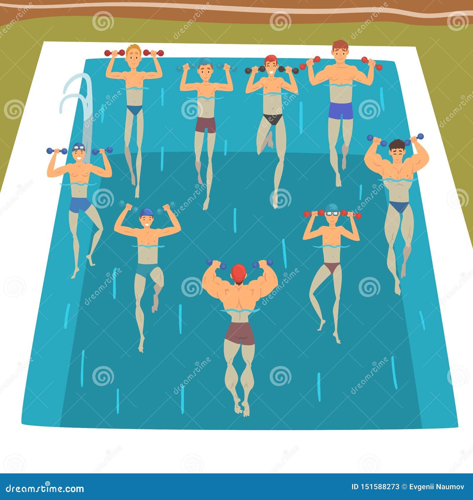 Hommes faisant Aqua Gym Exercises avec des haltères dans la piscine, les gens faisant des exercices d aérobic d eau, forme physiq