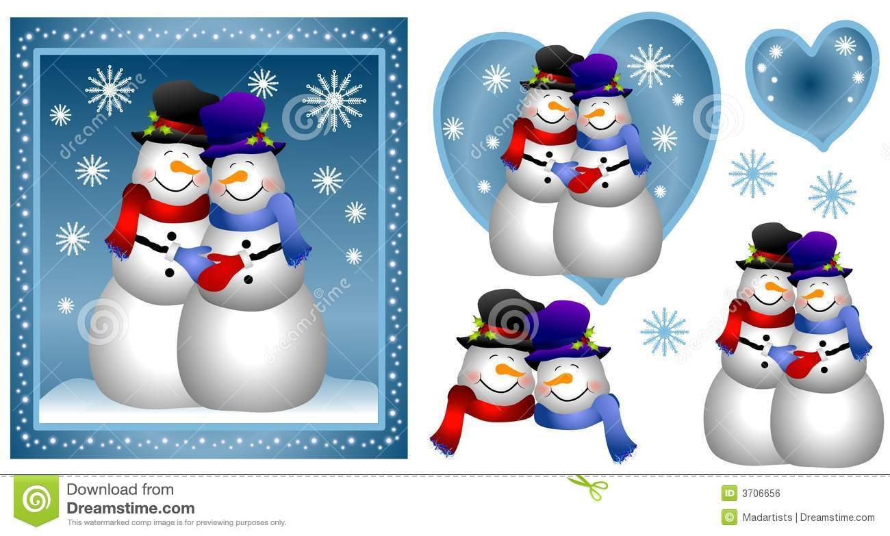 snowman couple card royalty free stock image image