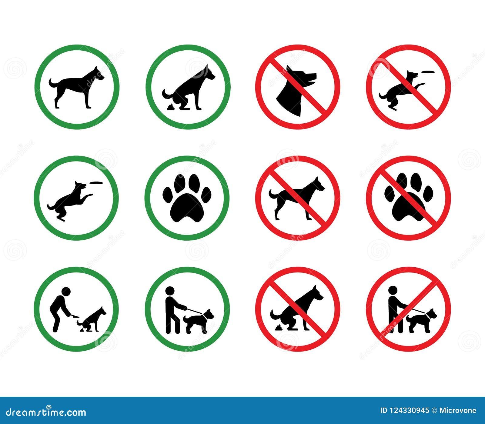 Hond verboden tekens Van de hondentoestemming en beperking vectorsignage van het silhouetpark