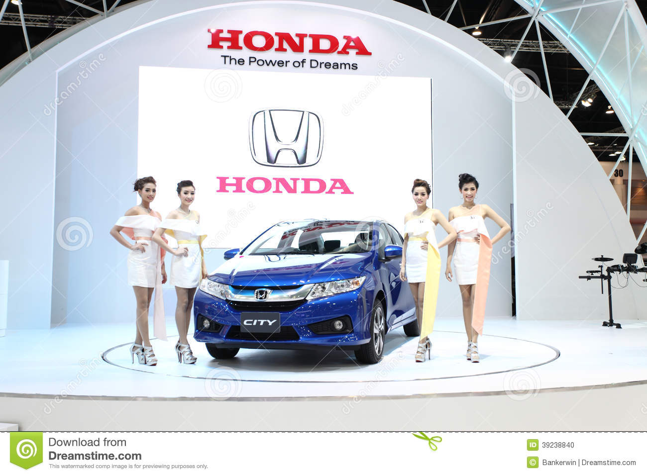Honda City Car With Unidentified Models On Display Editorial Image - Car display
