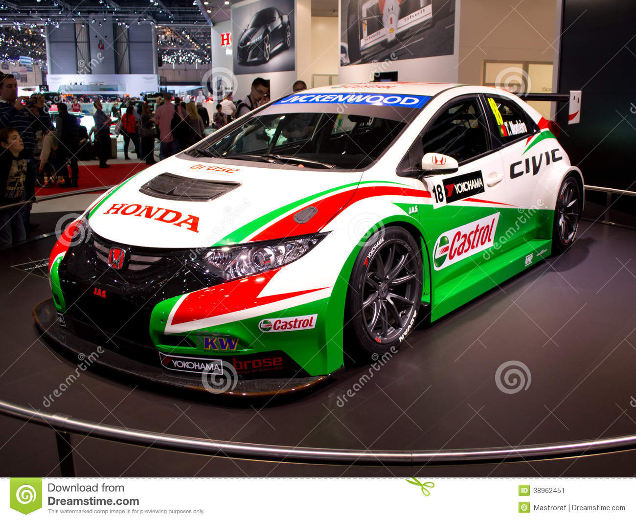 honda civic wtcc geneva 2014 editorial photo image 38962451. Black Bedroom Furniture Sets. Home Design Ideas
