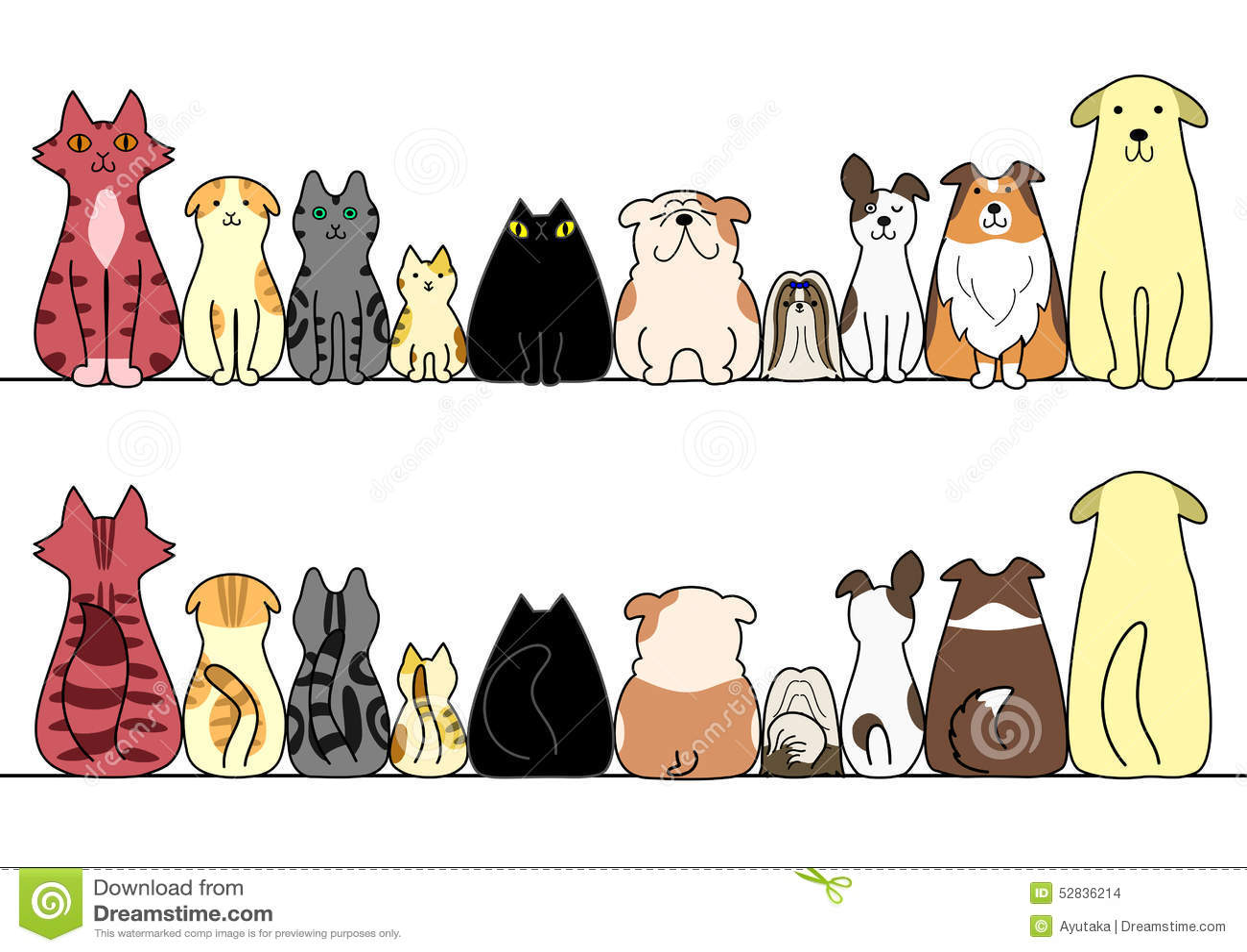 Honden en katten op een rij met exemplaarruimte, voorzijde en rug