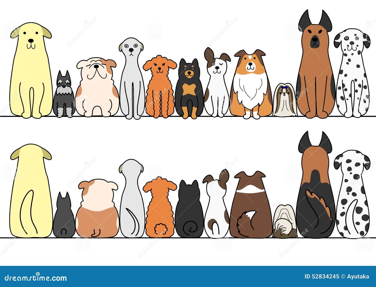 Honden op een rij met exemplaarruimte, voorzijde en rug