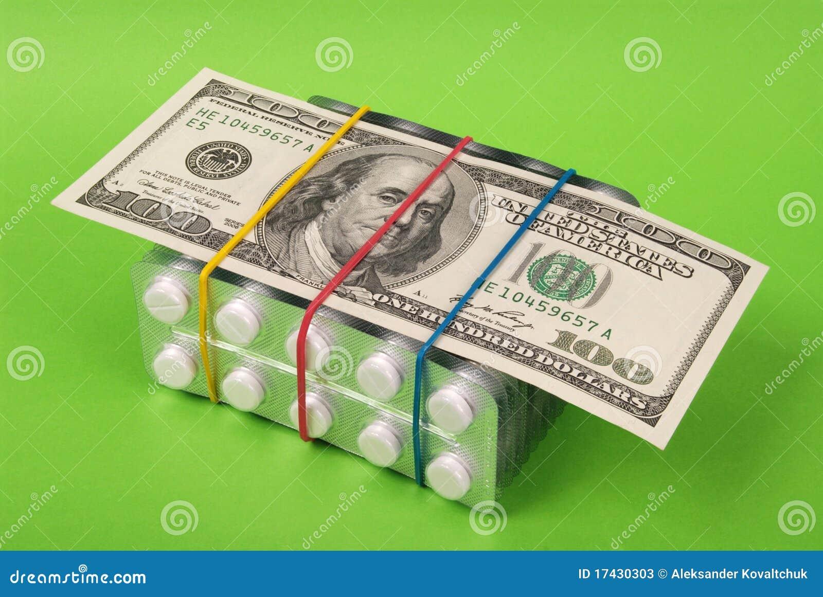 Honderd dollars legt bij de verpakking van witte tabletten