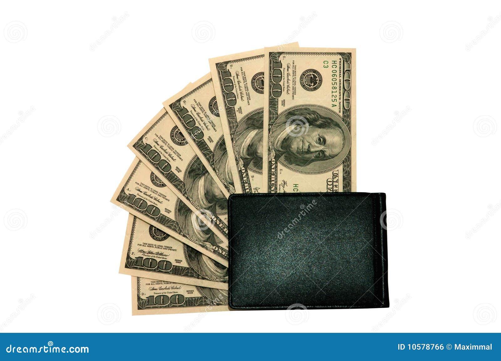 Honderd dollarsrekeningen in een portefeuille