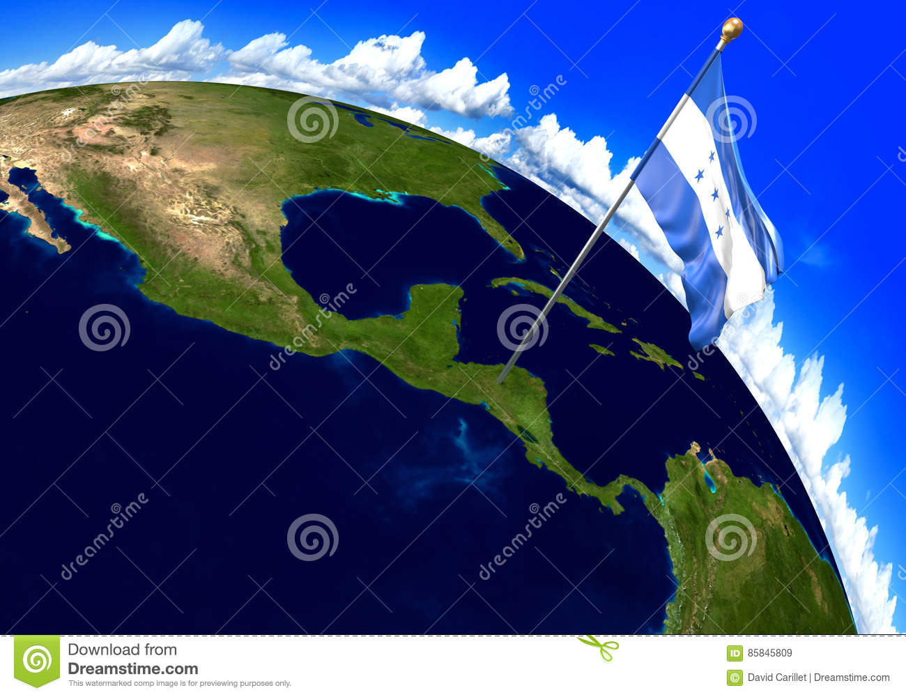 Honduras National Flag Marking The Country Location On World Map 3d