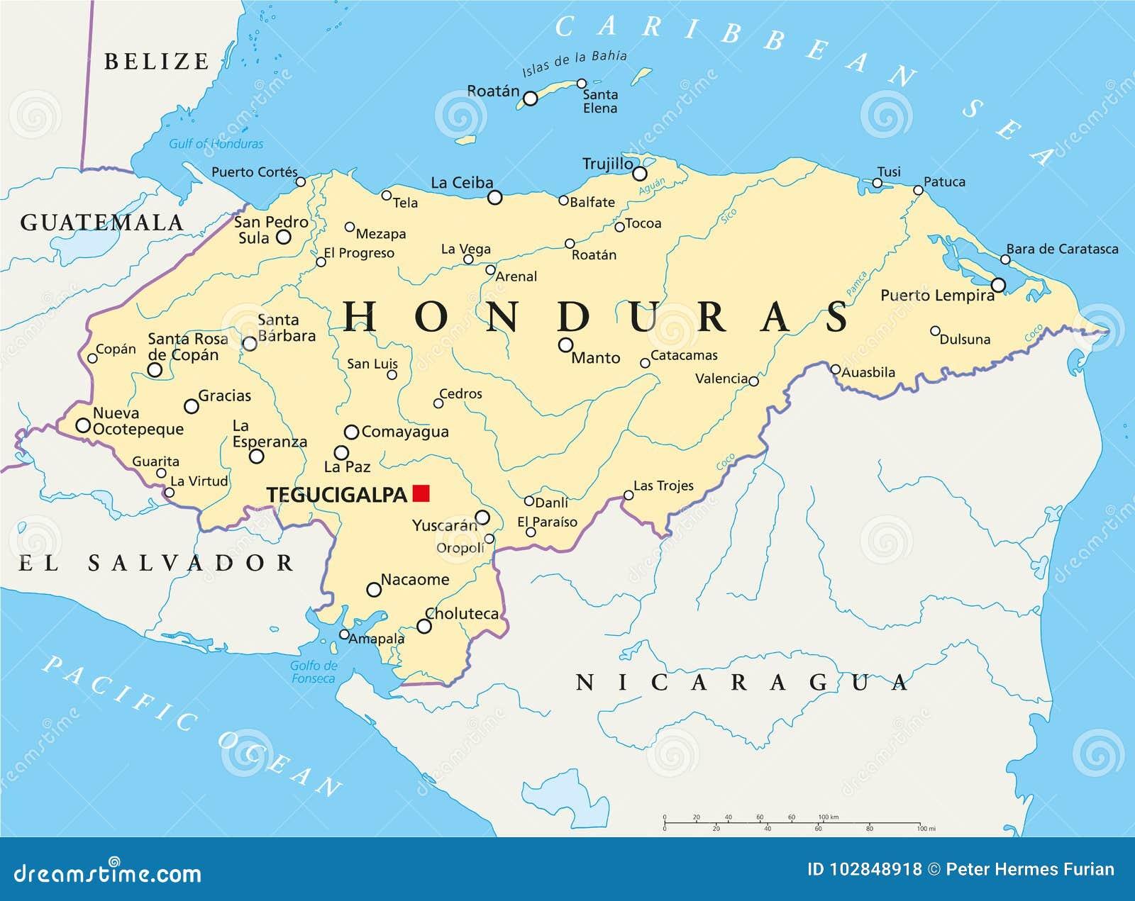 Map Of Honduras Honduras Political Map stock vector. Illustration of area   102848918 Map Of Honduras