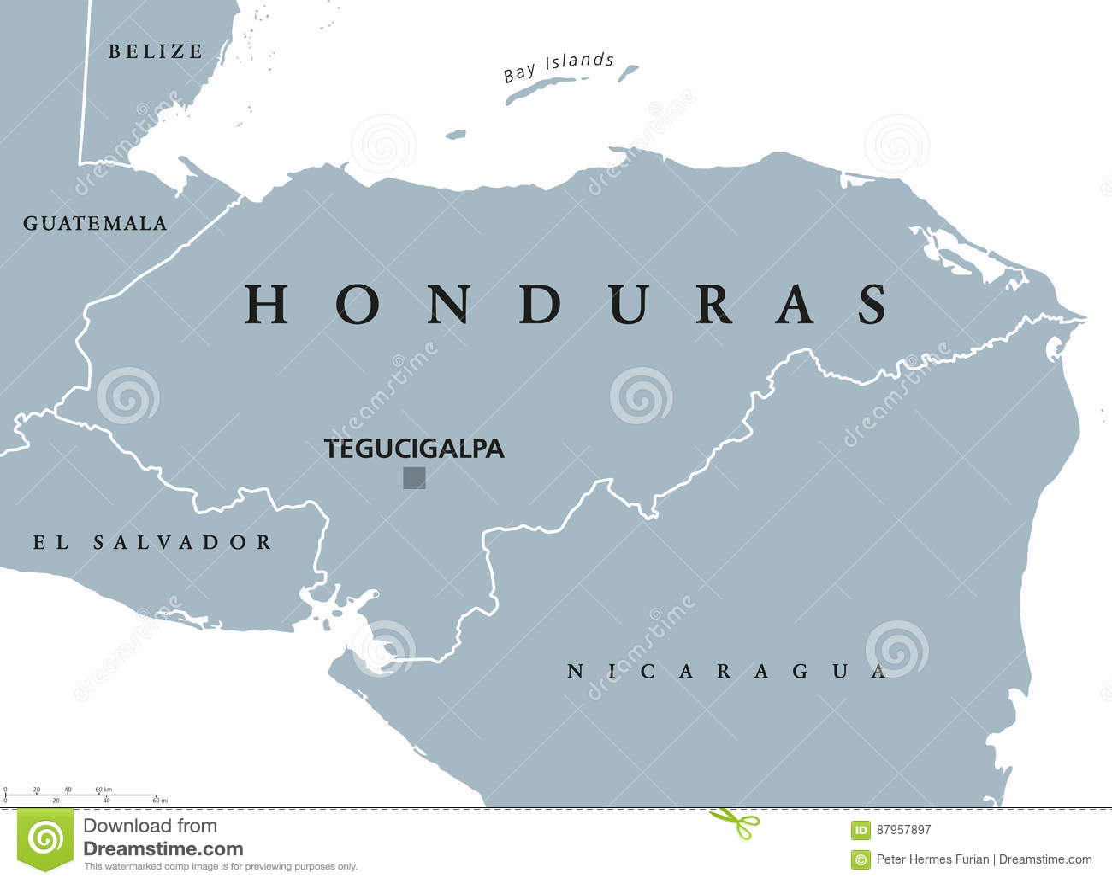 Honduras political map stock vector. Illustration of nicaragua ...