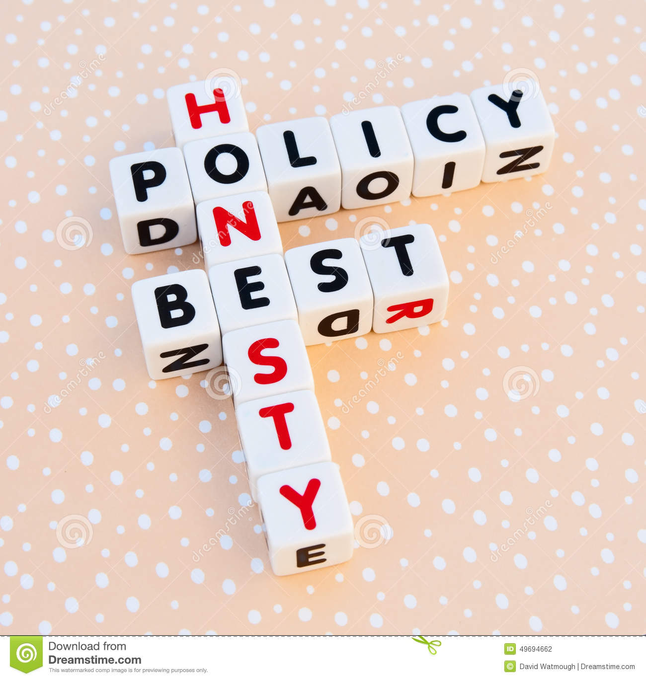 Honesty Best Policy Stock Photo - Image: 49694662