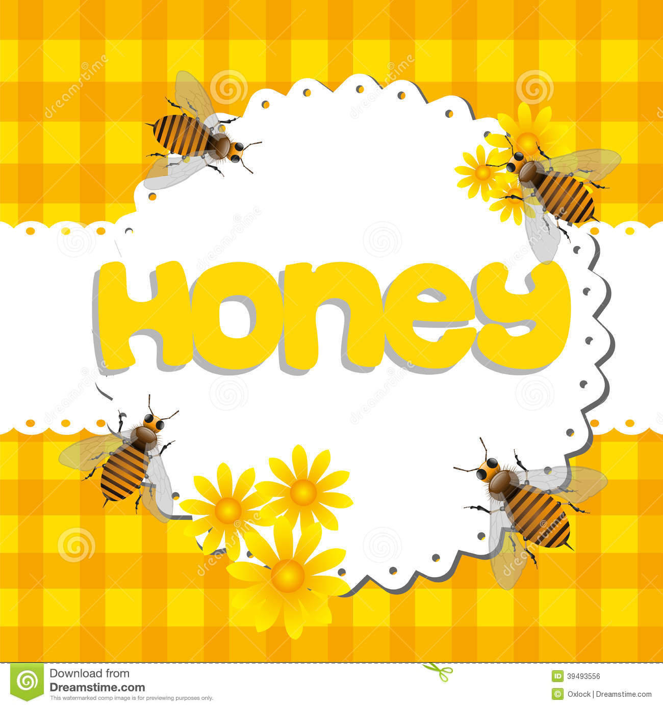 Abstract colorful background with bees among yellow flowers and the ...