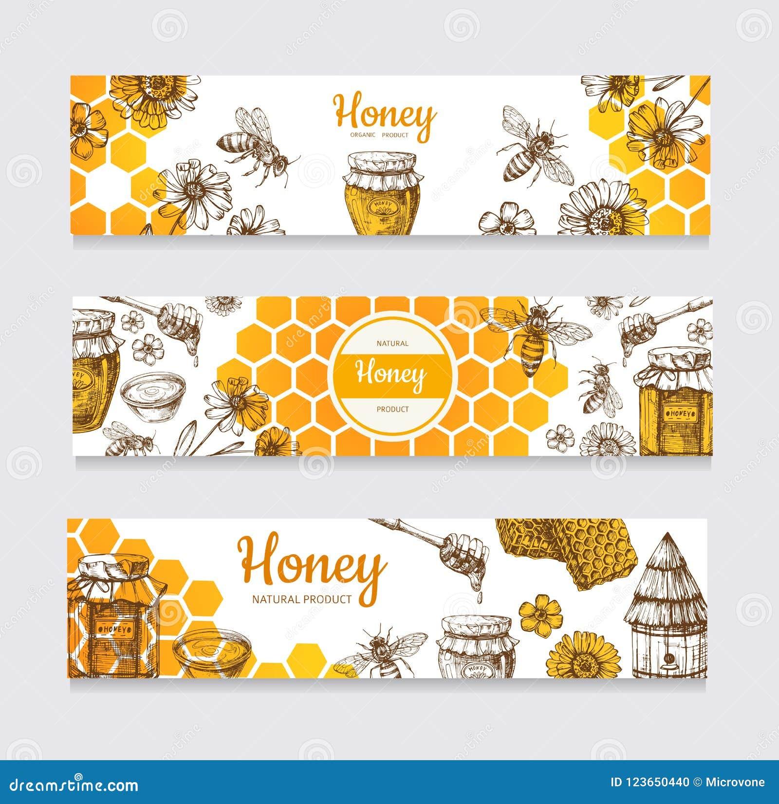 Honey Banners Uitstekende hand getrokken bij en honeyed bloem, honingraat en bijenkorf vectoretiketten