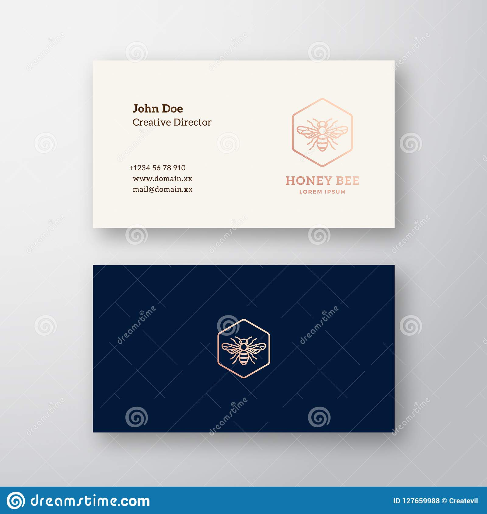 Honey Bee Abstract Elegant Vector Logo and Business Card Template. Line  Style Bee Icon. Premium Stationary Realistic Mock Up. Modern Typography and  Soft