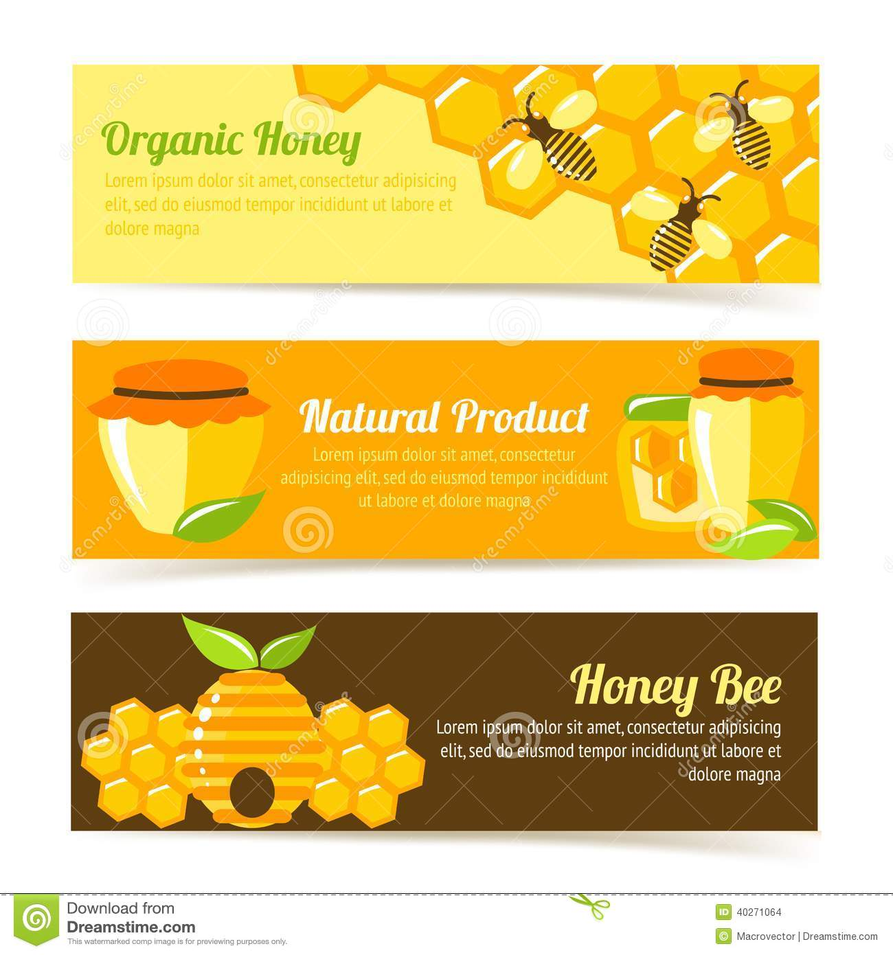... product banners with honeycomb and pot elements vector illustration