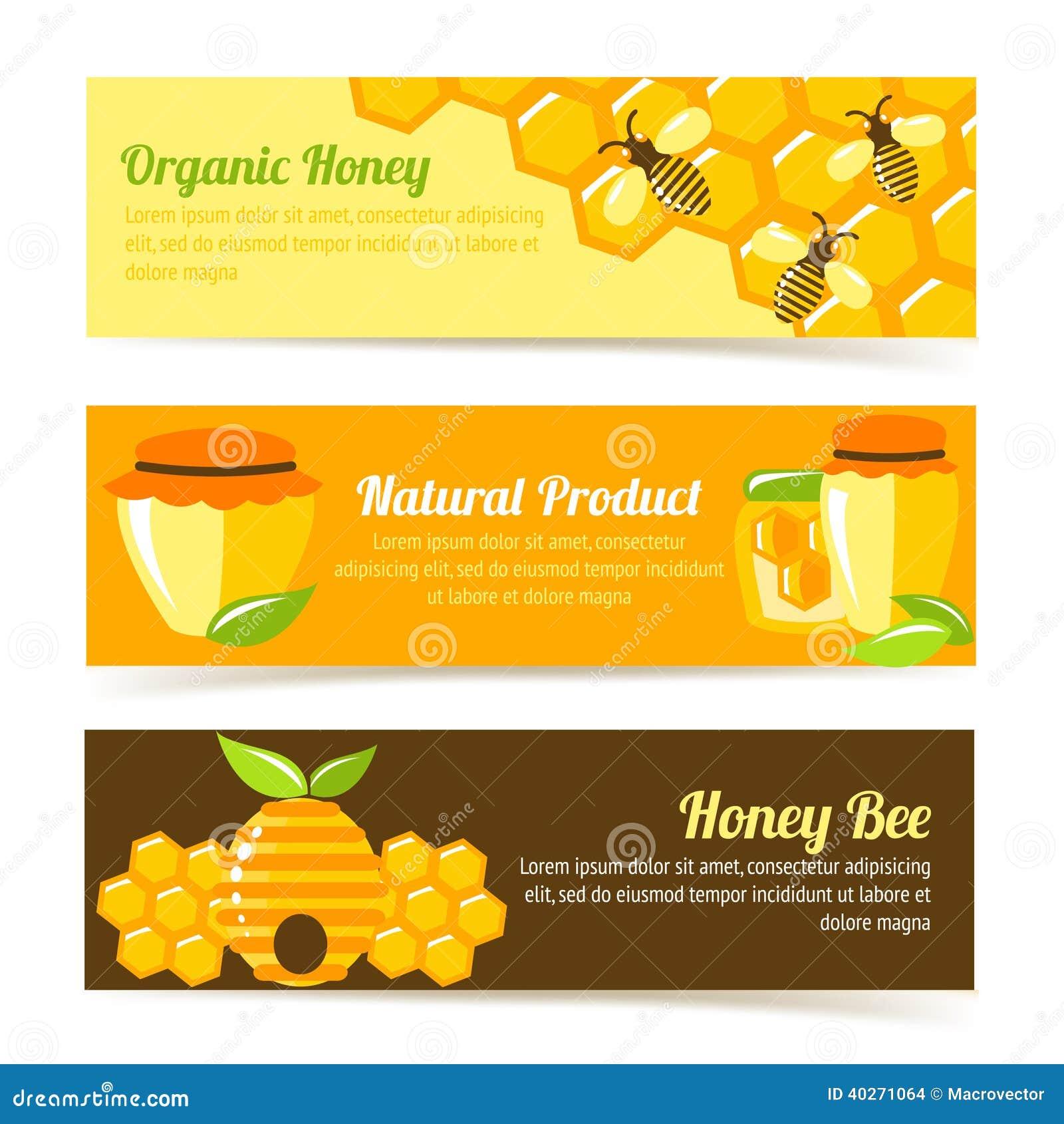 honey bee banners stock vector