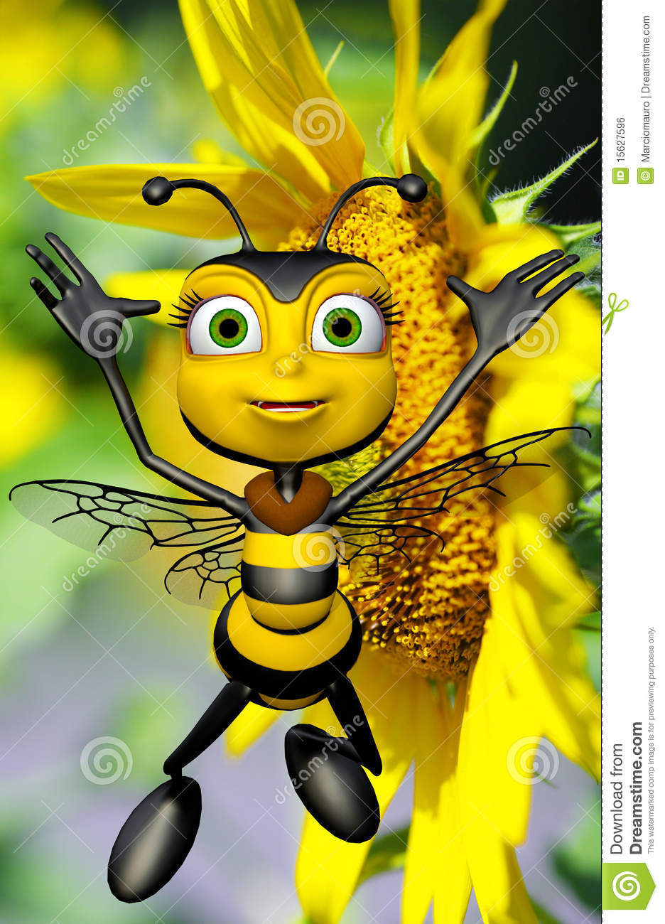 Black Bumble Bee >> Honey Bee And The Big Yellow Sun Flower Stock Illustration ...