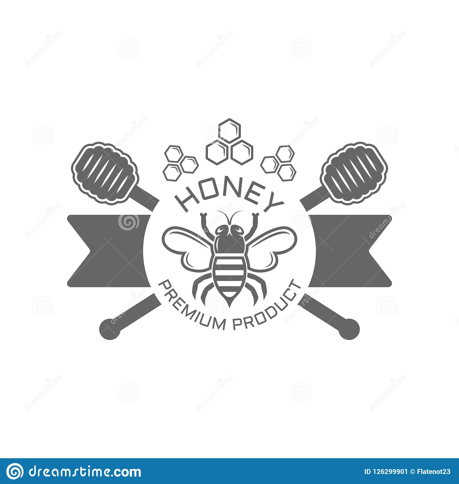 Bee Farm Vintage Isolated Label: Honey And Bee Isolated Vector Black Emblem Stock Vector