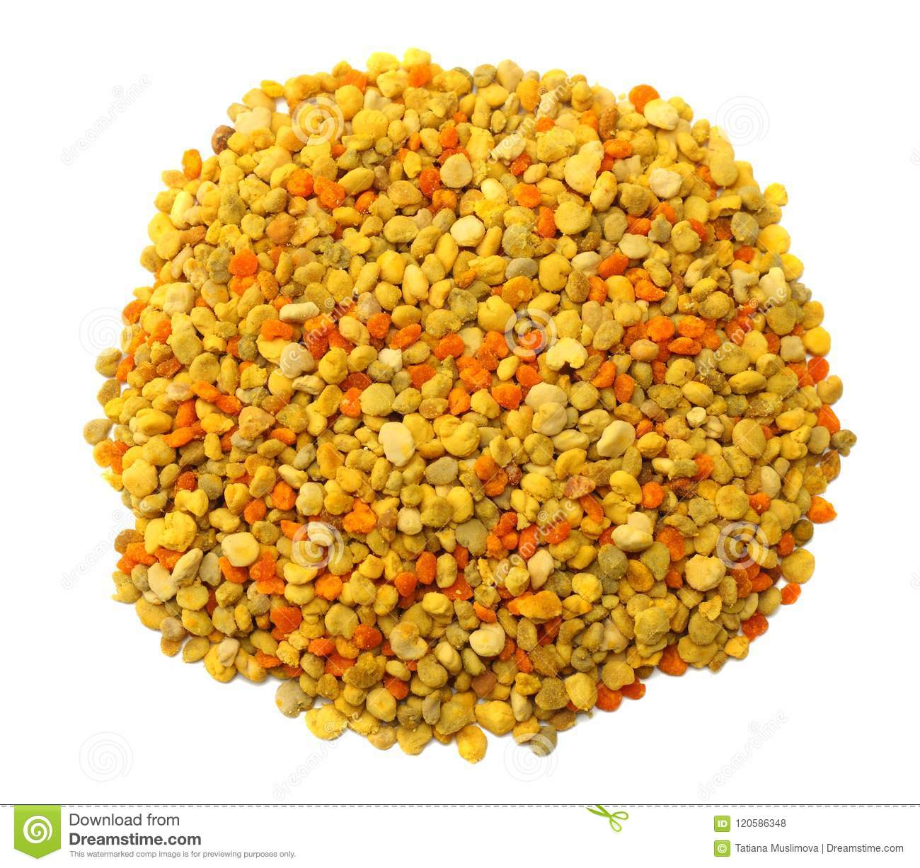 Honey bee pollen isolated on white background. top view