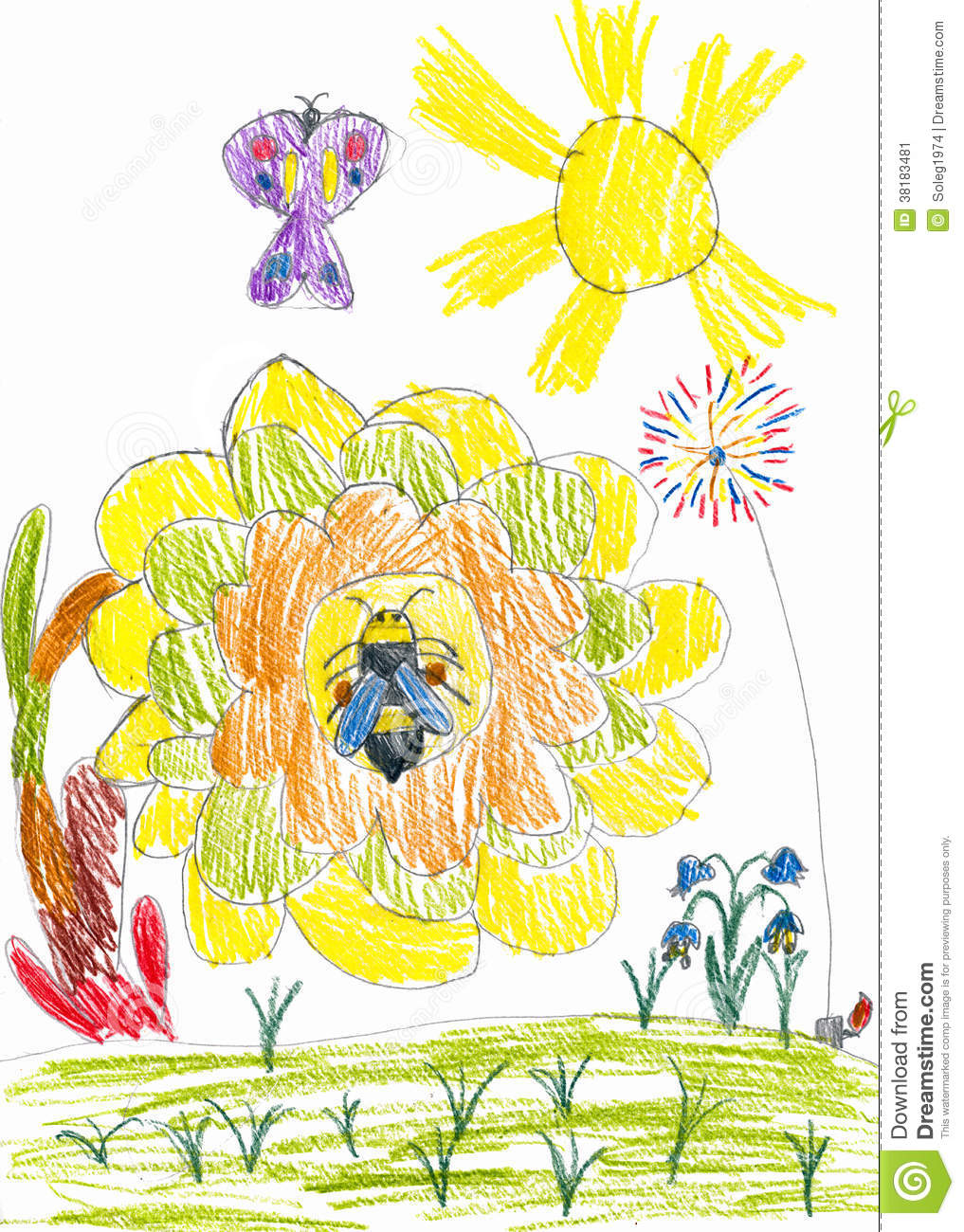Honey bee on sunflower and butterfly. child drawing