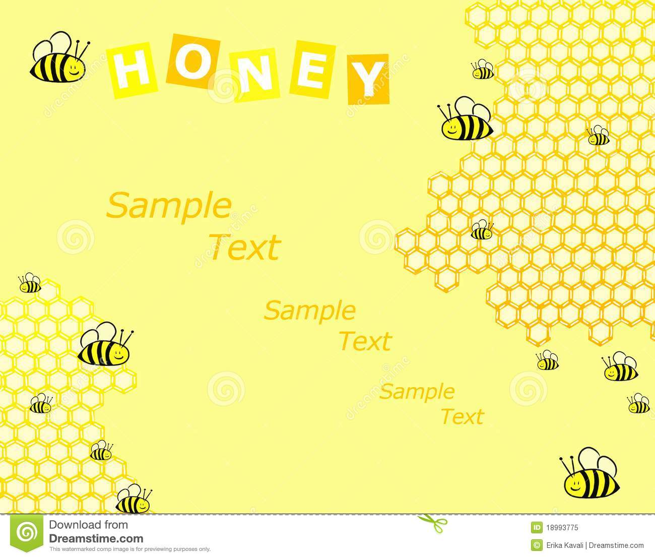 Honey and bees background