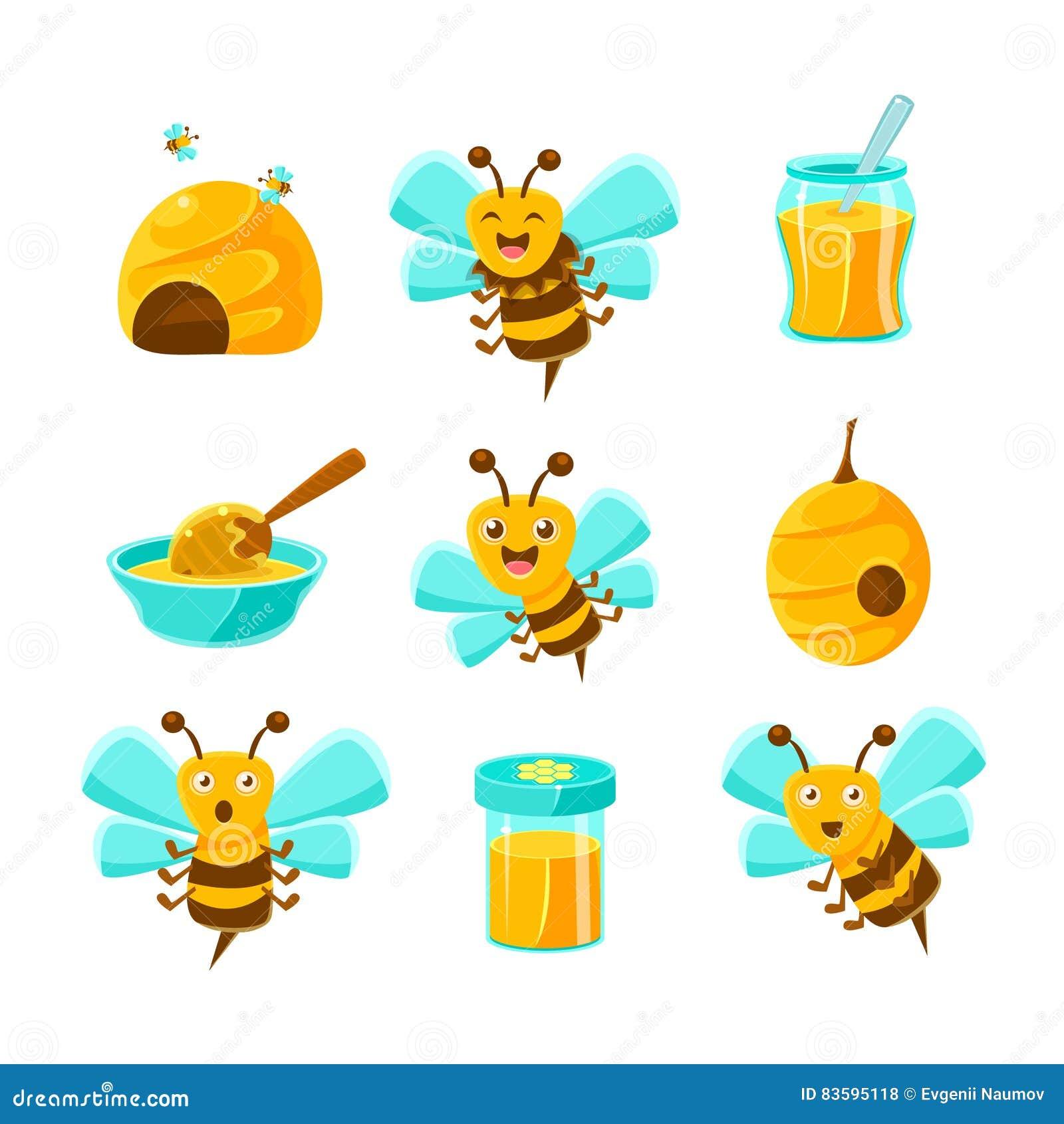 Honey Bees, ruches et pots avec les illustrations naturelles jaunes de Honey Set Of Colorful Cartoon