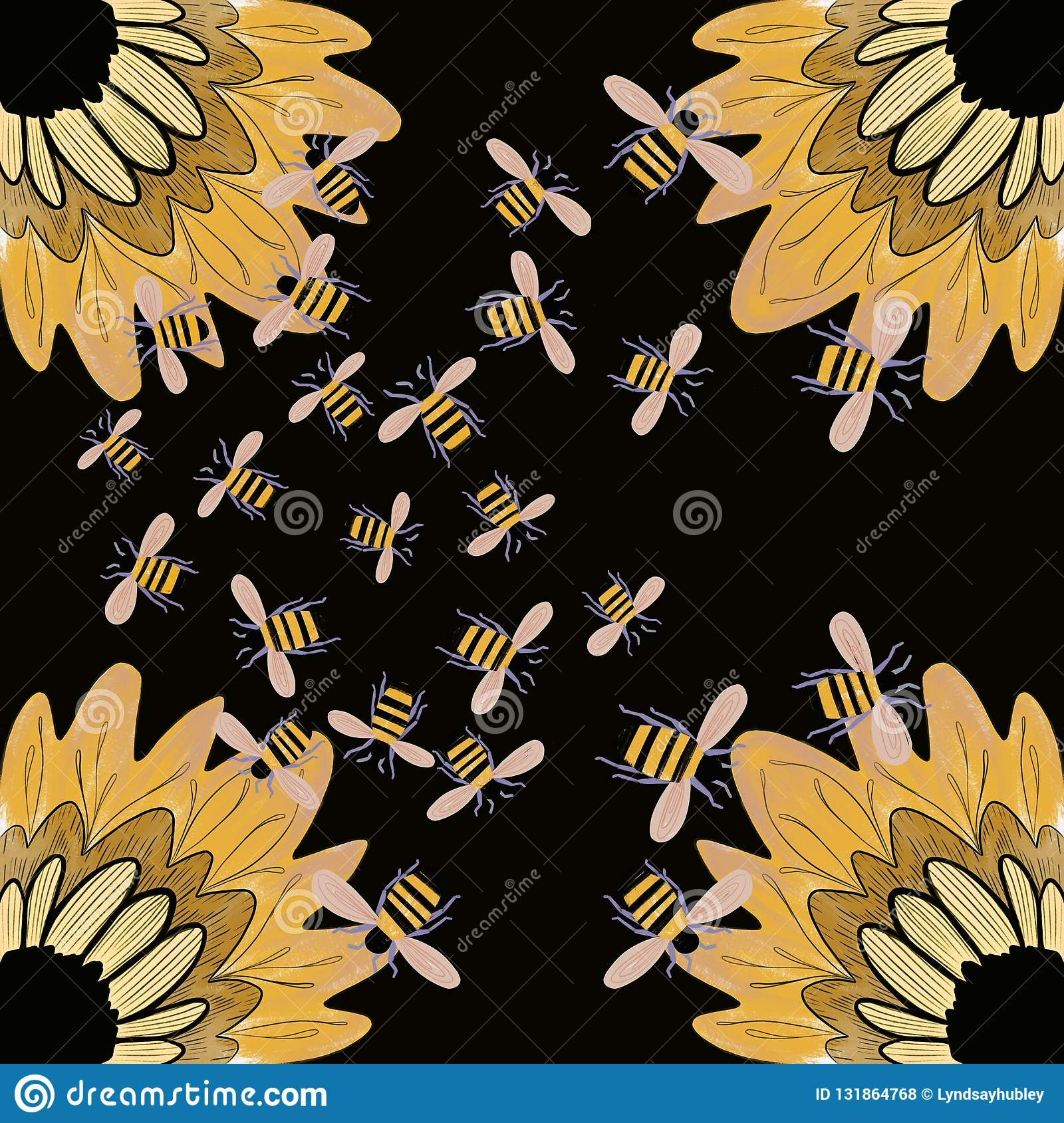 honey bees sunflowers background wallpaper yellow black bumblebees pollinating flowers 131864768