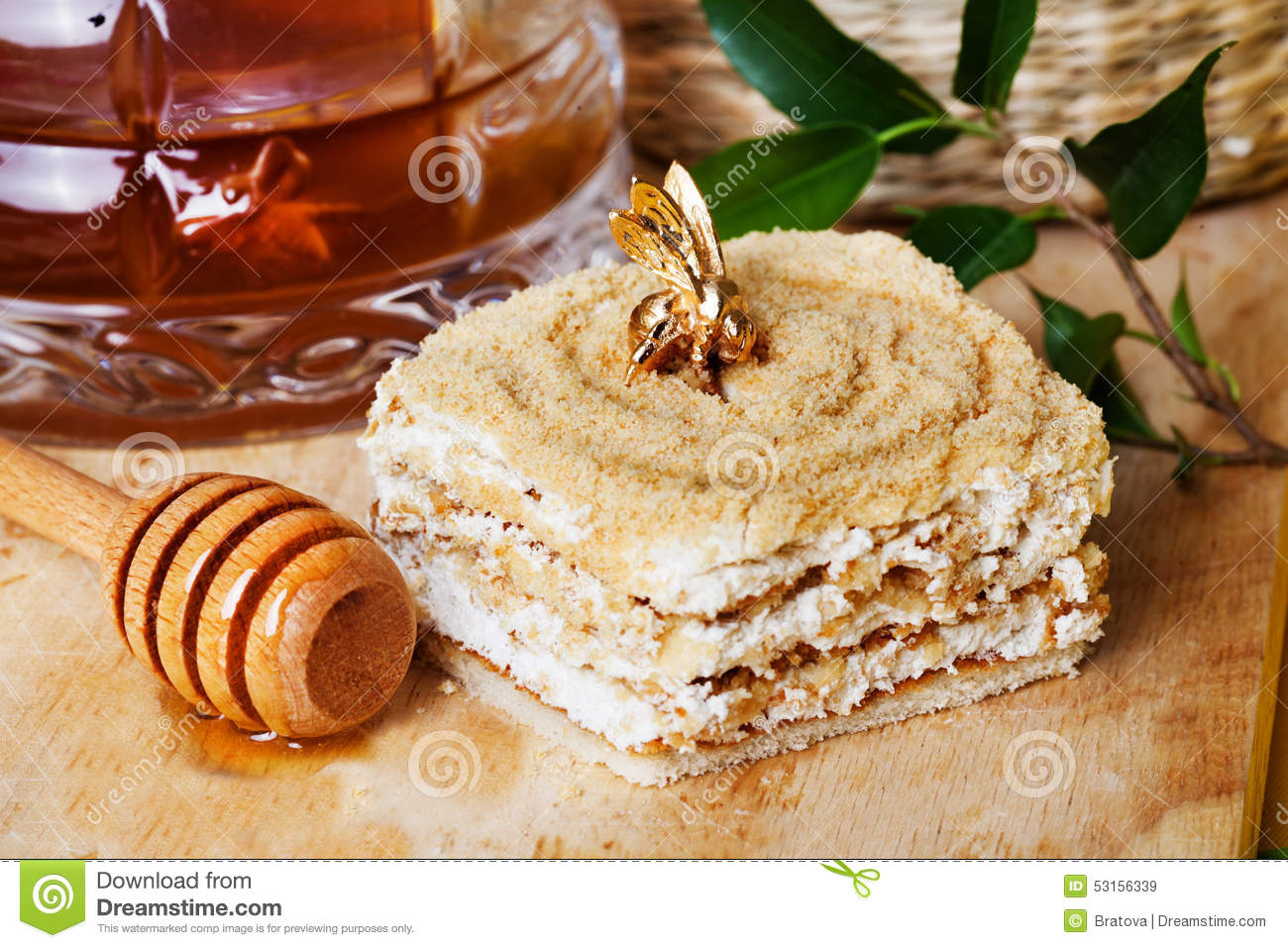Clipart Of Honey Cake : Honey Cake And A Special Spoon In Still Life With Stock ...