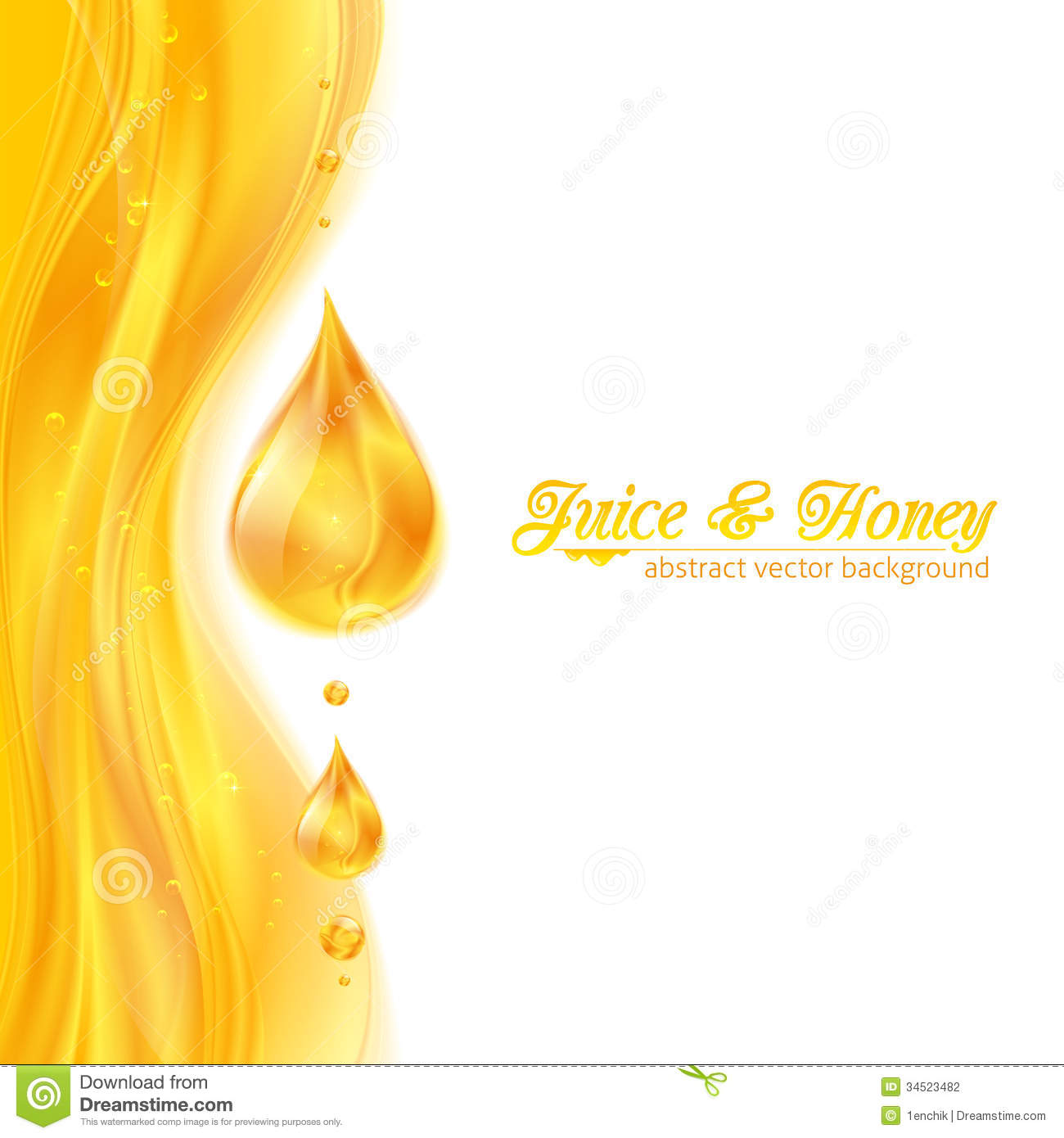 Honey Colors Juicy Vector Background With Drops Stock