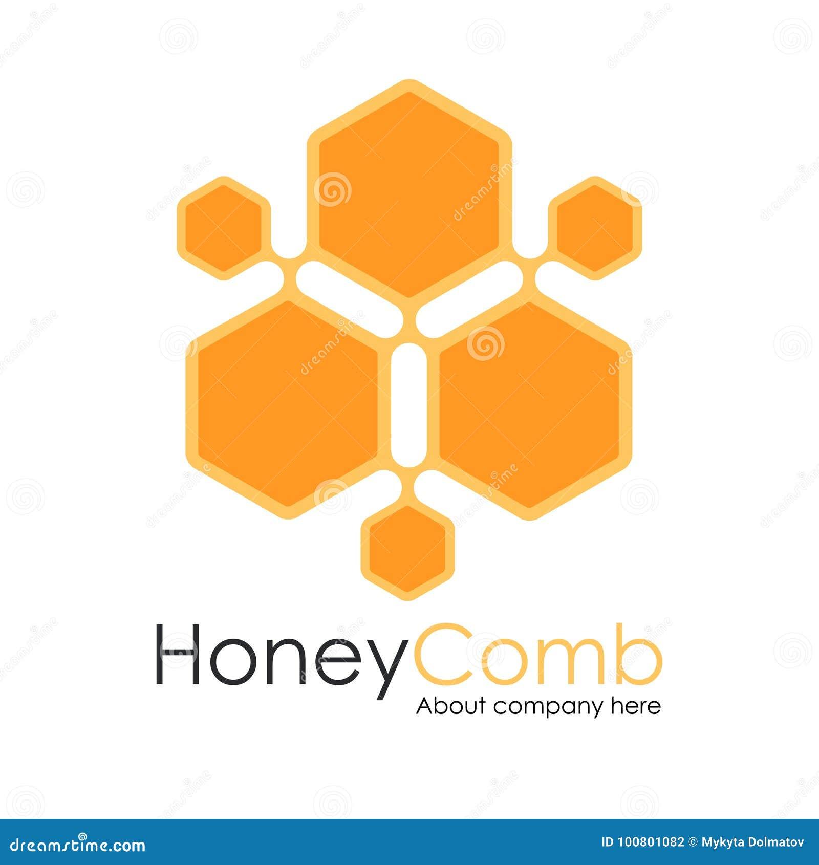 honey comb logo template design vector honeycomb emblem concept