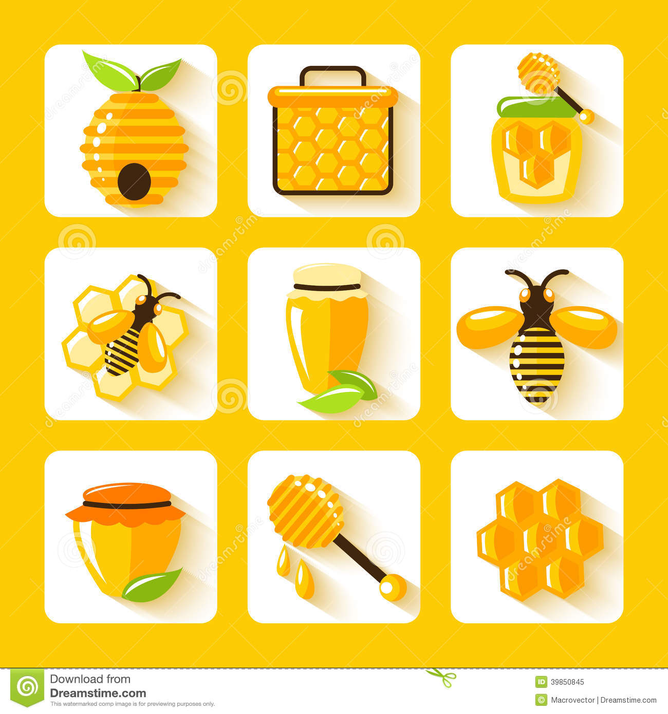 Honey Flat Icons Set stock vector. Image of elements ...
