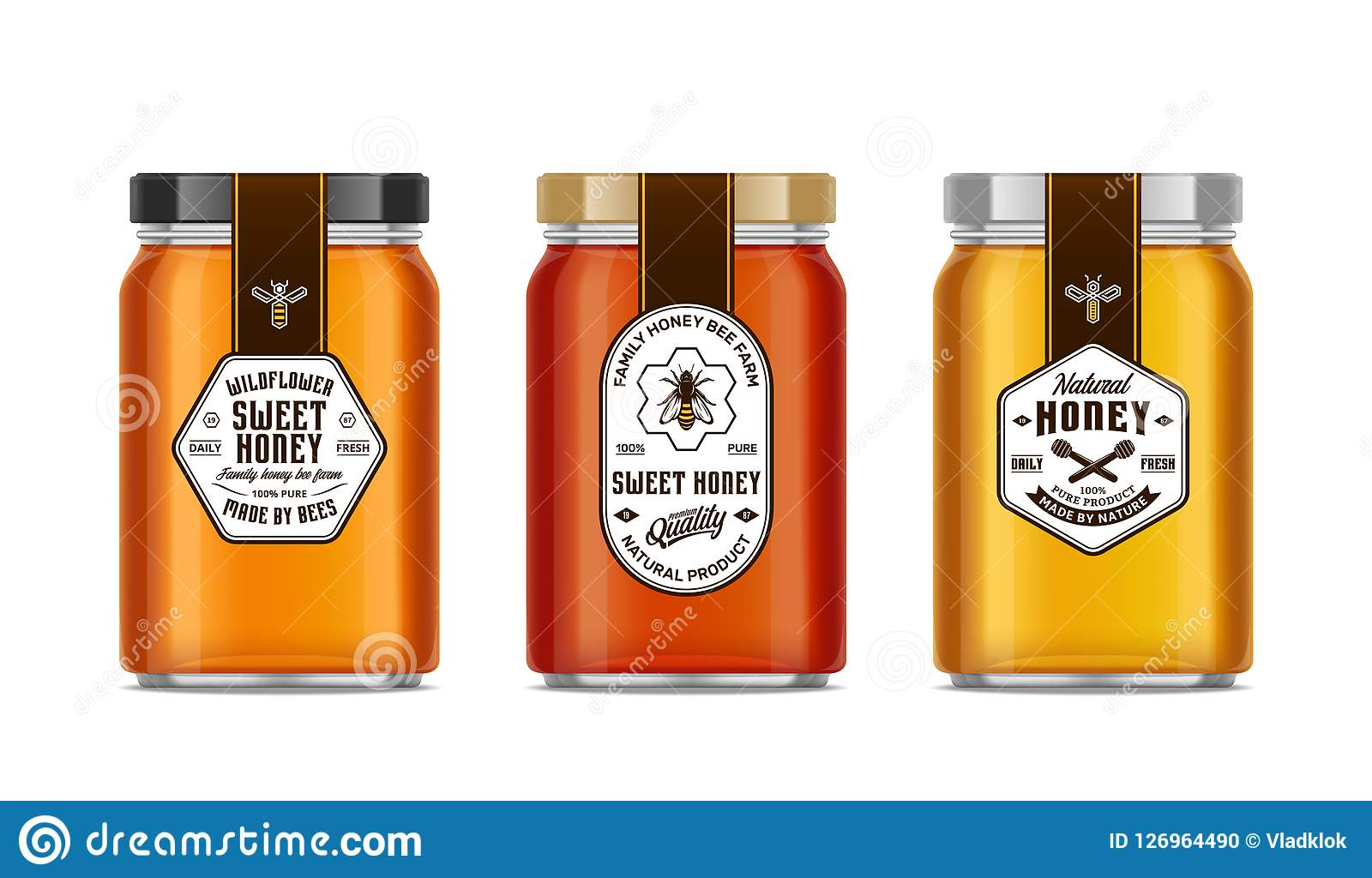 Honey Glass Jar Mockups With Labels And Bees Stock Vector