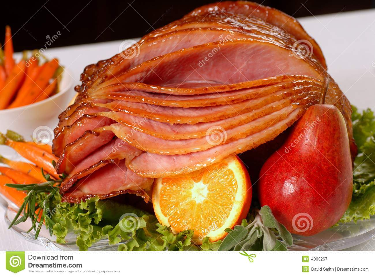 ... Free Stock Photography: Honey glazed Easter ham with fruit and carrots