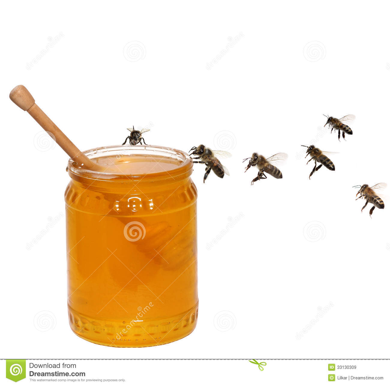 Honey Jar And Bees Royalty Free Stock Images - Image: 33130309