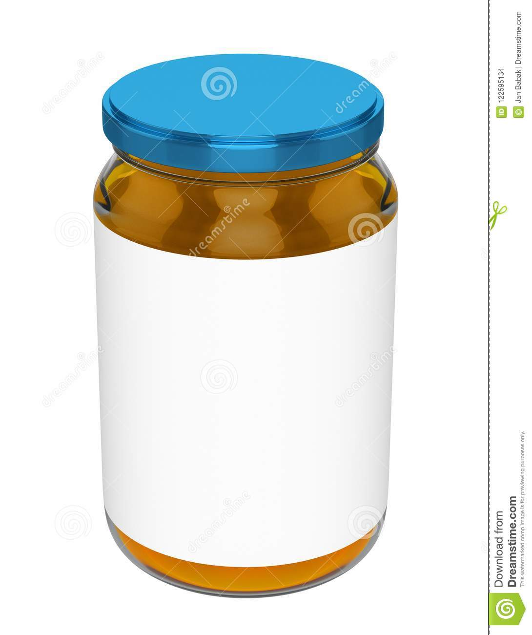 honey jar mock up blank label blue lid stock illustration