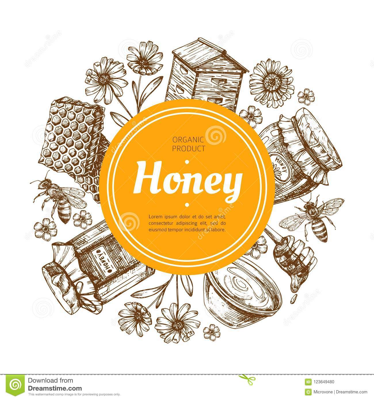 Honey Label Natural Farm Honey Badge With Bee And Honeycomb