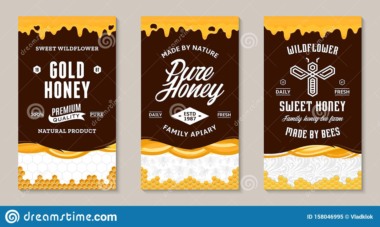 Honey Labels And Packaging Design Templates Stock Vector