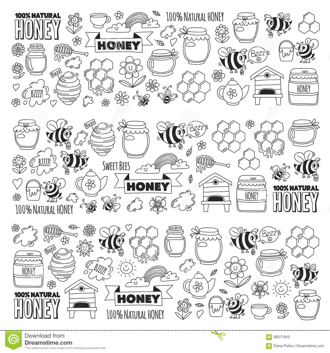 Honey market, bazaar, honey fair Doodle images of bees, flowers, jars, honeycomb, beehive, spot, the keg with lettering