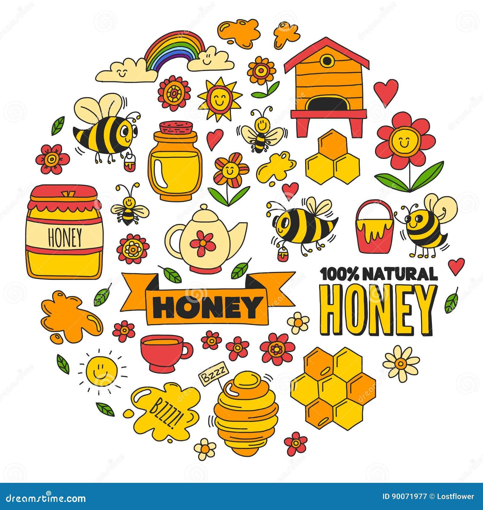 Honey market, bazaar, honey fair Doodle images of bees, flowers, jars, honeycomb, beehive, spot, the keg with lettering