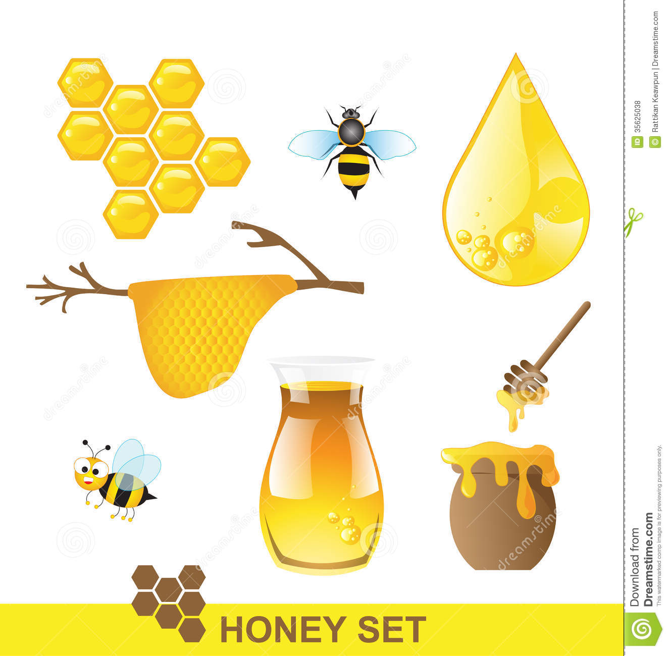 Honey Set Vector Royalty Free Stock Photos - Image: 35625038