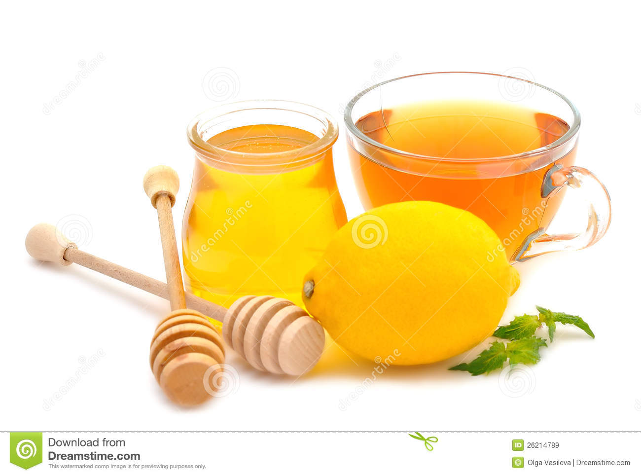 Honey, Tea And Lemon Royalty Free Stock Images - Image: 26214789