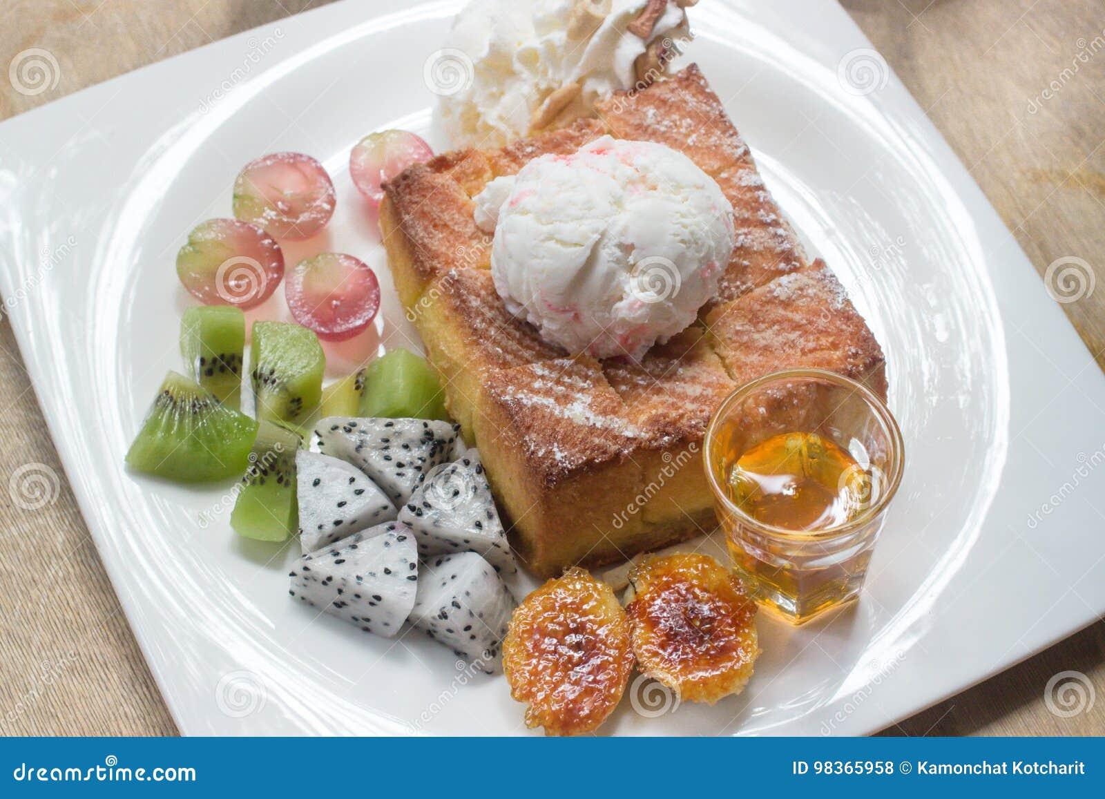 Honey toast on white dish