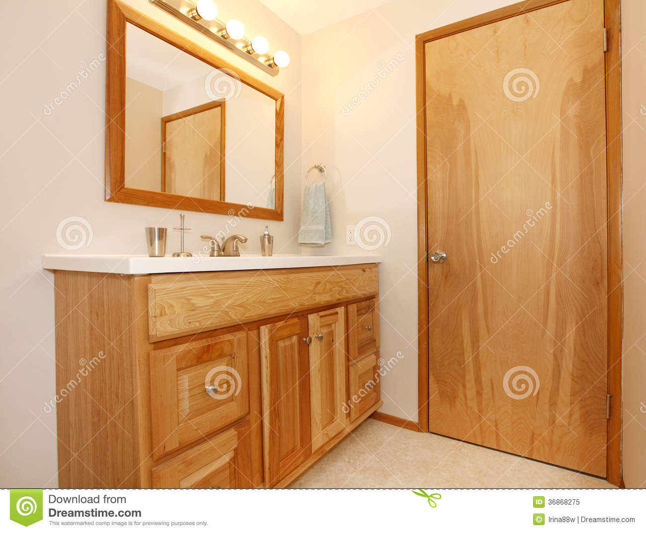 honey wooden bathroom cabinets royalty free stock photo image
