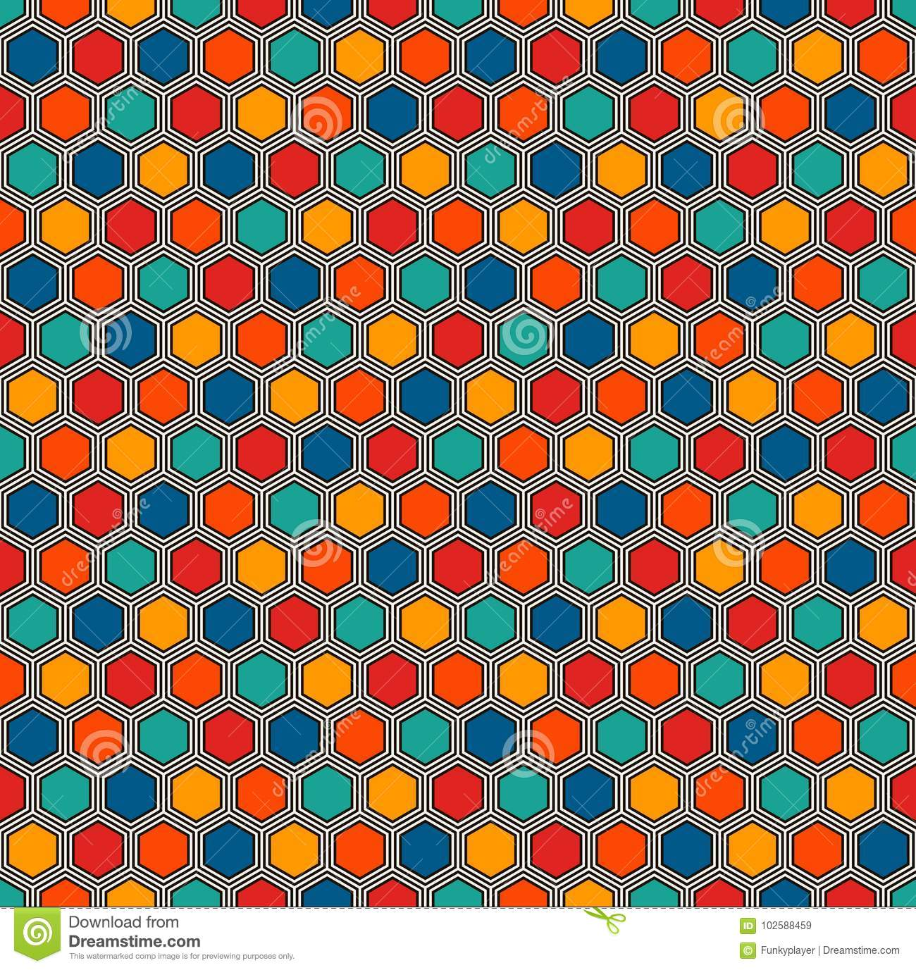 Honeycomb Abstract Background. Vivid Colors Hexagon Tiles