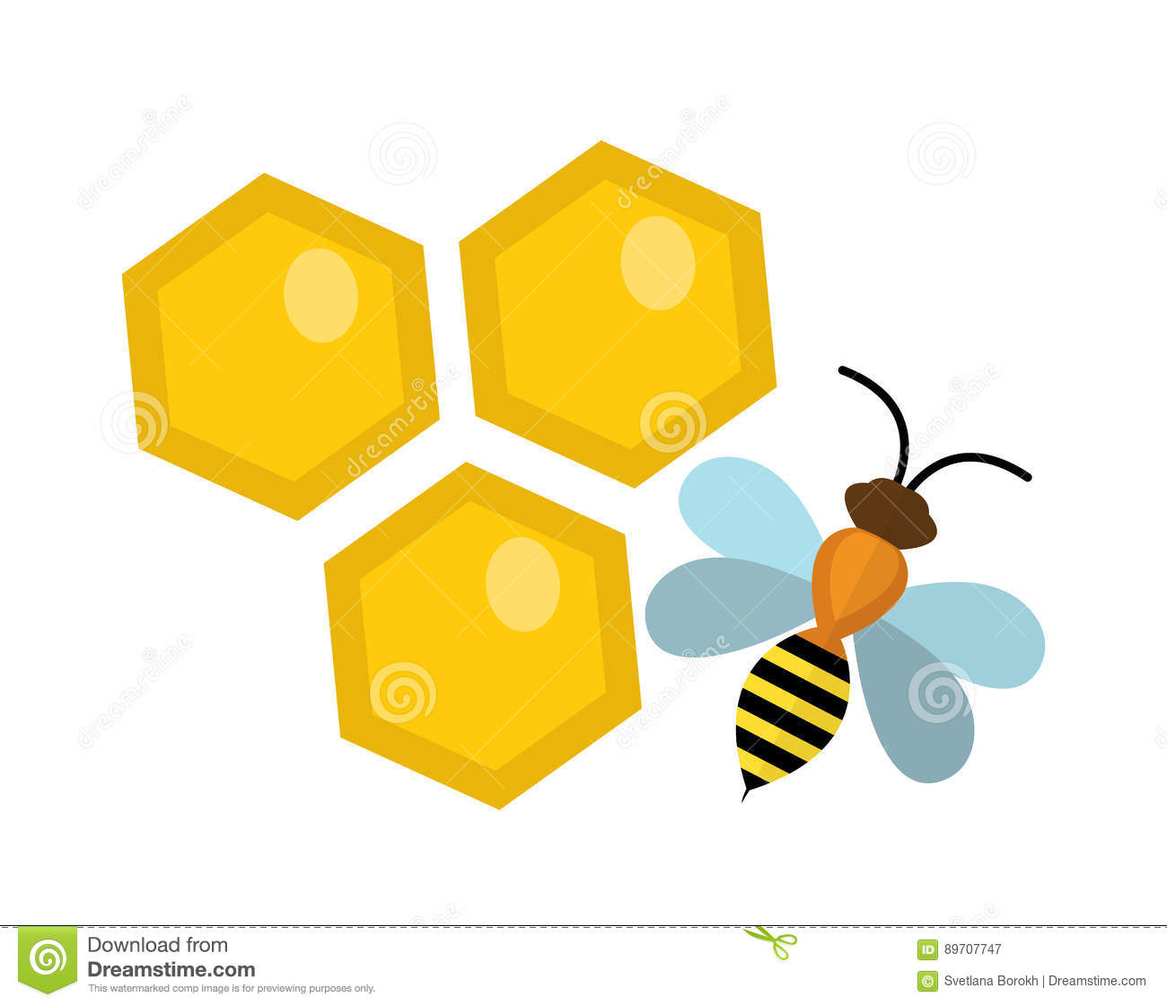 honeycomb and bee icon flat style isolated on white background rh dreamstime com honeycomb clipart png honeycomb border clipart