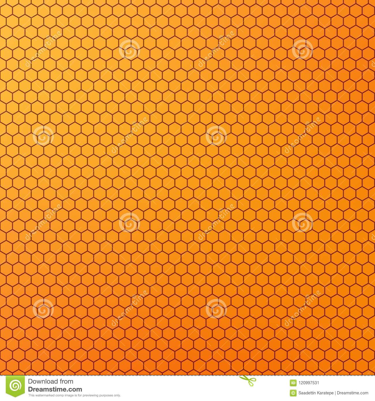 Yellow Orange Colored Honeycomb Design Abstract Background