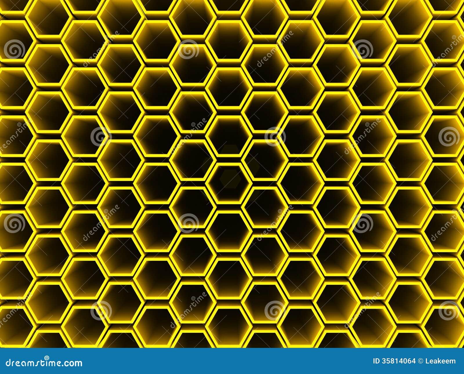Hexagon Pattern Wallpaper Yellow