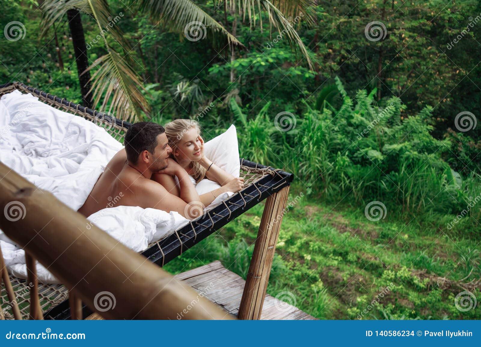 Honeymoon At Bali Ubud Successful Couple Relaxing At Villa Beautiful View Stock Photo Image Of View Travel 140586234